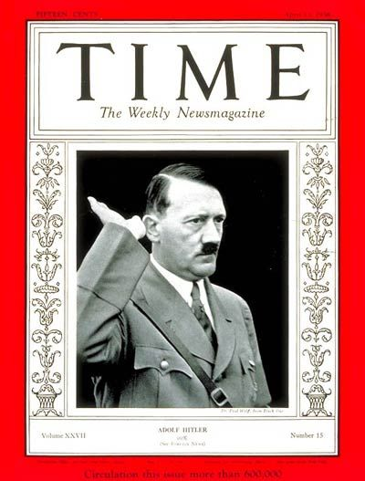 Adolf Hitler on the cover of Time magazine when he was named man of the year-April.13, 1936