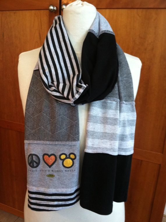 UPCYCLED t-shirt scarf... Mickey Mouse Icon... Peace... love... Disney... WDW... grey, black, white