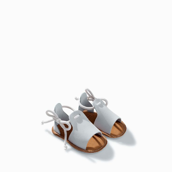 Image 3 of LEATHER LACE-UP SANDAL from Zara