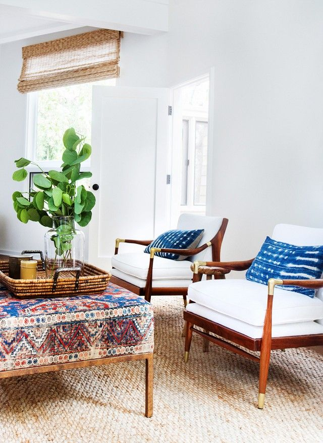 Bedroom chairs in a California eclectic home.