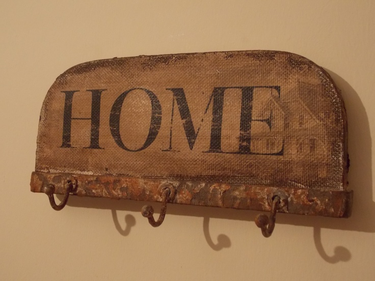 Rustic Iron Home Wall Plaque with Hooks, £10.95
