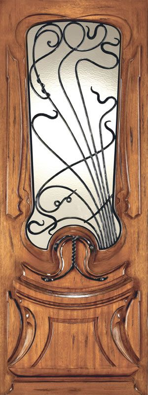 AAW Inc. AN-2014 Art Nouveau Front Entry Solid Mahogany Door with Forged Iron