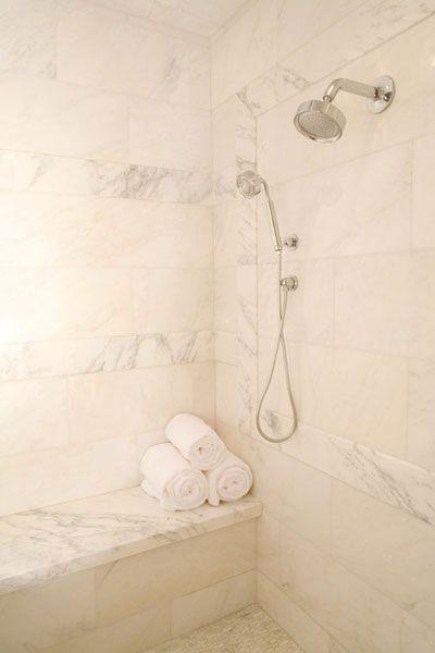 Inhabit Design Bathrooms Marble Tiles Shower