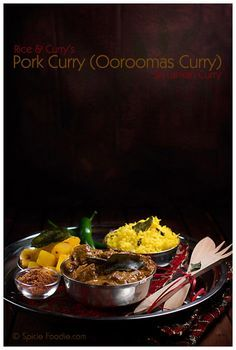Sri Lankan curry, Pork curry, cayenne pepper, potato, curry, yellow rice, coconut rice, sir lankan rice, turmeric, cloves, spiced, green chile, recipe, Rice & Curry, cookbook review, coconut milk, Spicie Foodie
