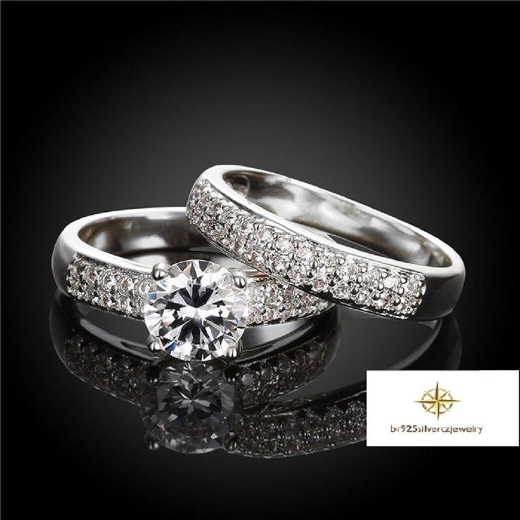 14K White Gold Solitaire With Accent Diamond Engagement Bridal Wedding Ring Set #EngagementWeddingValentines
