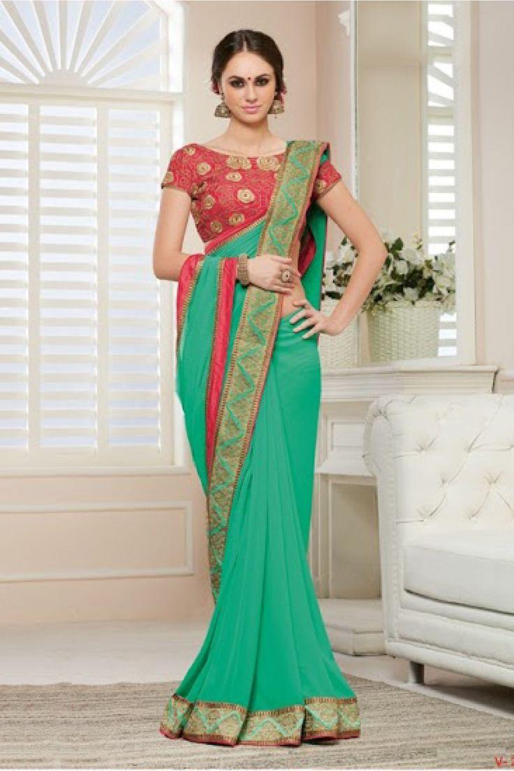 Georgette Party Wear Designer Saree In Sea Green Colour