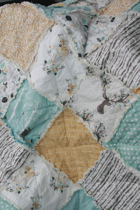 Crib Rag Quilt Baby Boy Crib Bedding Woodland Nursery by justluved