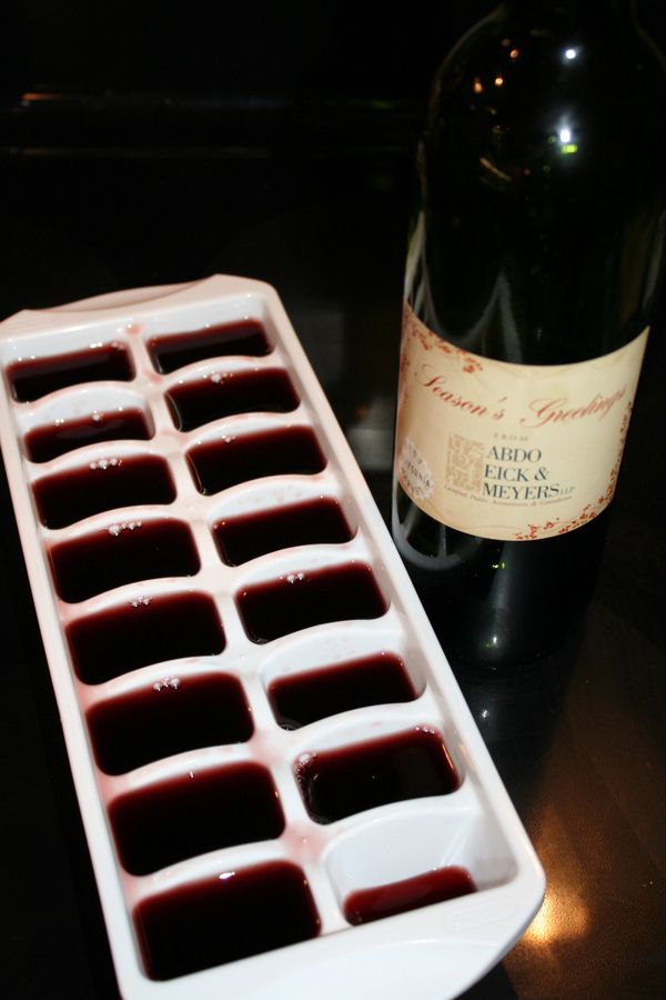 Hahaha!  Leftover wine!  Freeze your leftover* wine to use in sauces.   Brilliant Ways To Hack Your Booze