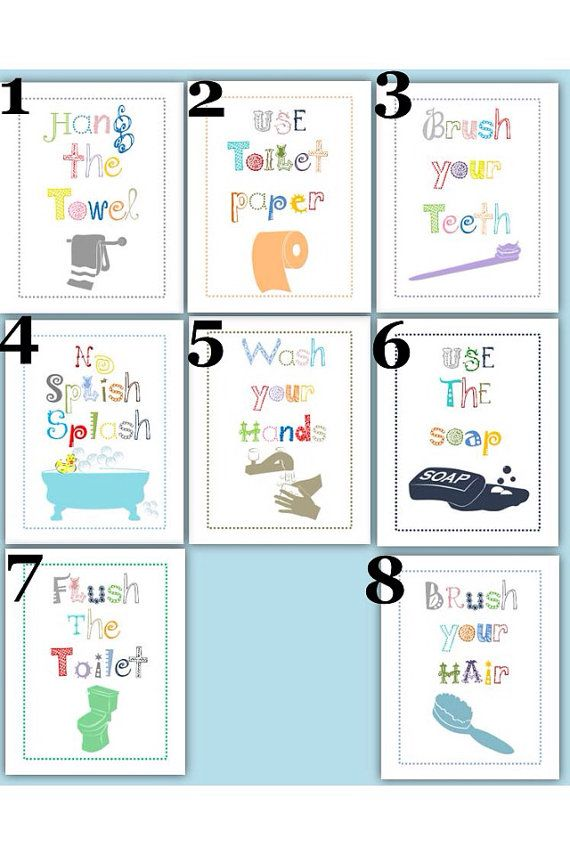 Bathroom signs for classroom - Bathroom Rules For Kids Art Prints Choose Four 5x7