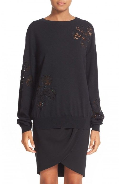 Moschino+Women's+Lace+Inset+Wool+Sweater+|+Clothing
