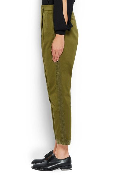 Givenchy - Tapered Pants In Silk-trimmed Army-green Cotton-twill - Army green - FR42