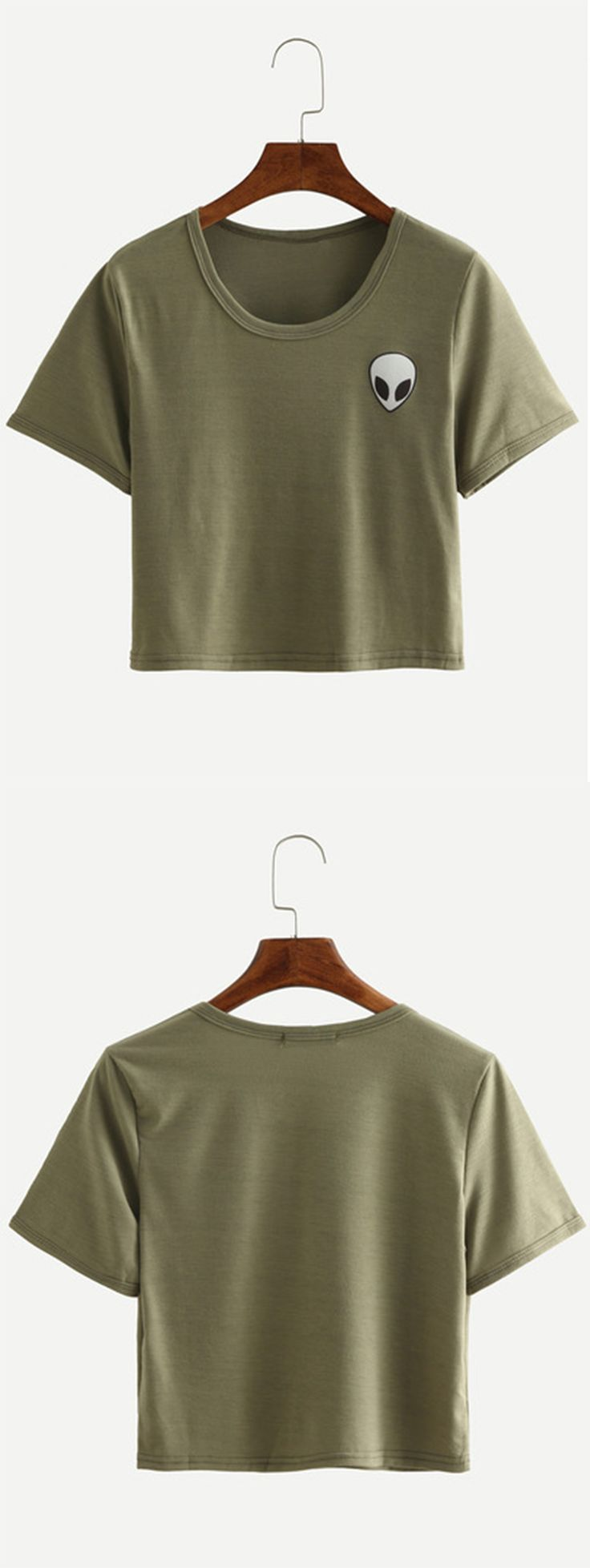 Alien Print Crop T Shirt Olive Green Ropa Pinterest Printing Clothes And Dream Closets