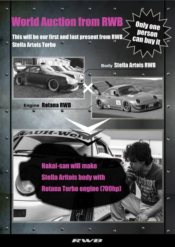 World Auction from RWB STELLA ARTOIS TURBO We will sell to those who bid the highest price. =Car will be ready January 2018= #RWB #RauhWeltBegriff #1048style #KamiwazaJapan