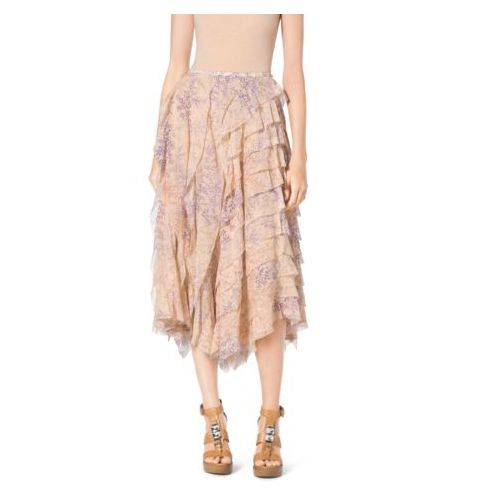 Cheap MK Store & MICHAEL KORS COLLECTION Floral-Print Ruffle Silk-Chiffon Skirt NUDE