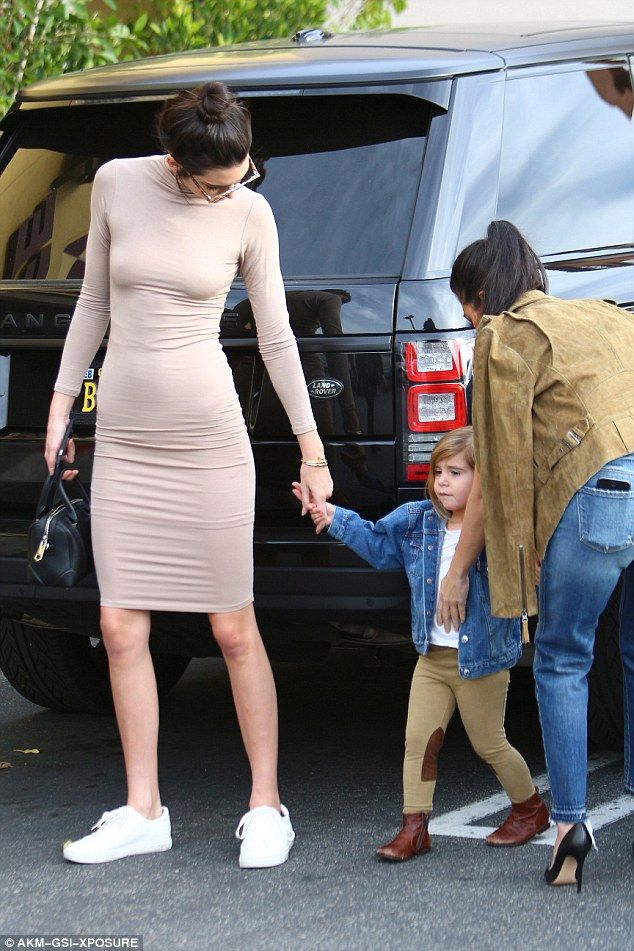New gig: Kendall was in the news on Wednesday for being named the new face of Mango, a fashion company from Spain; here she is seen with Kourtney and Penelope on Monday