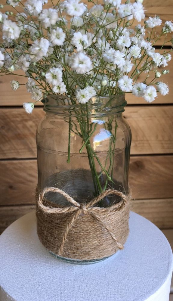 10 x Glass Jars Vintage Vases Wedding Centrepiece Shabby Chic Hessian Lace Twine in Home, Furniture & DIY, Wedding Supplies,…