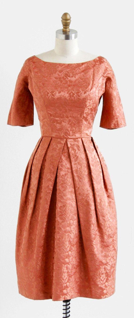 vintage 1960s copper penny cocktail dress.