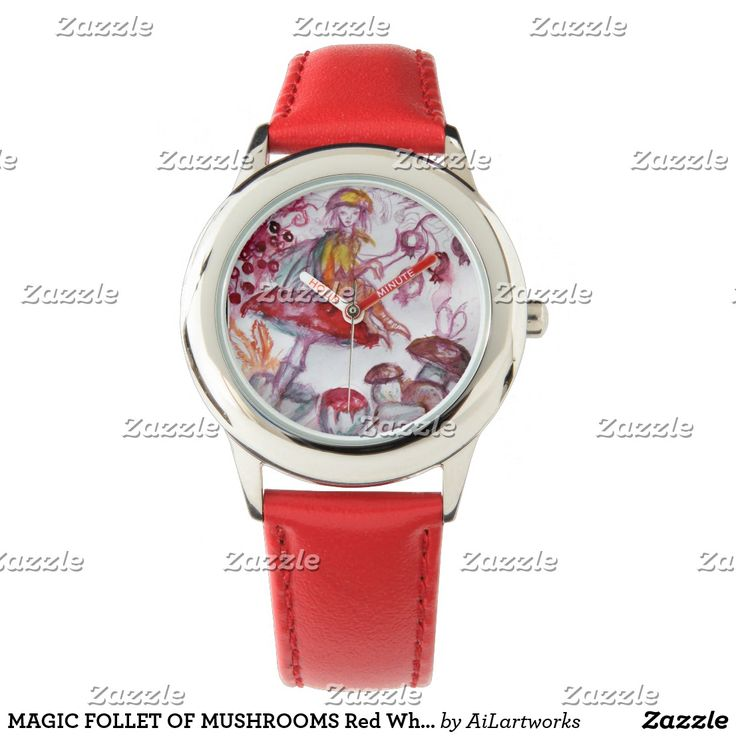 MAGIC FOLLET OF MUSHROOMS Red White Floral Fantasy Wrist Watch #watches #fashion #wristwatches #rustic #fairy #wood