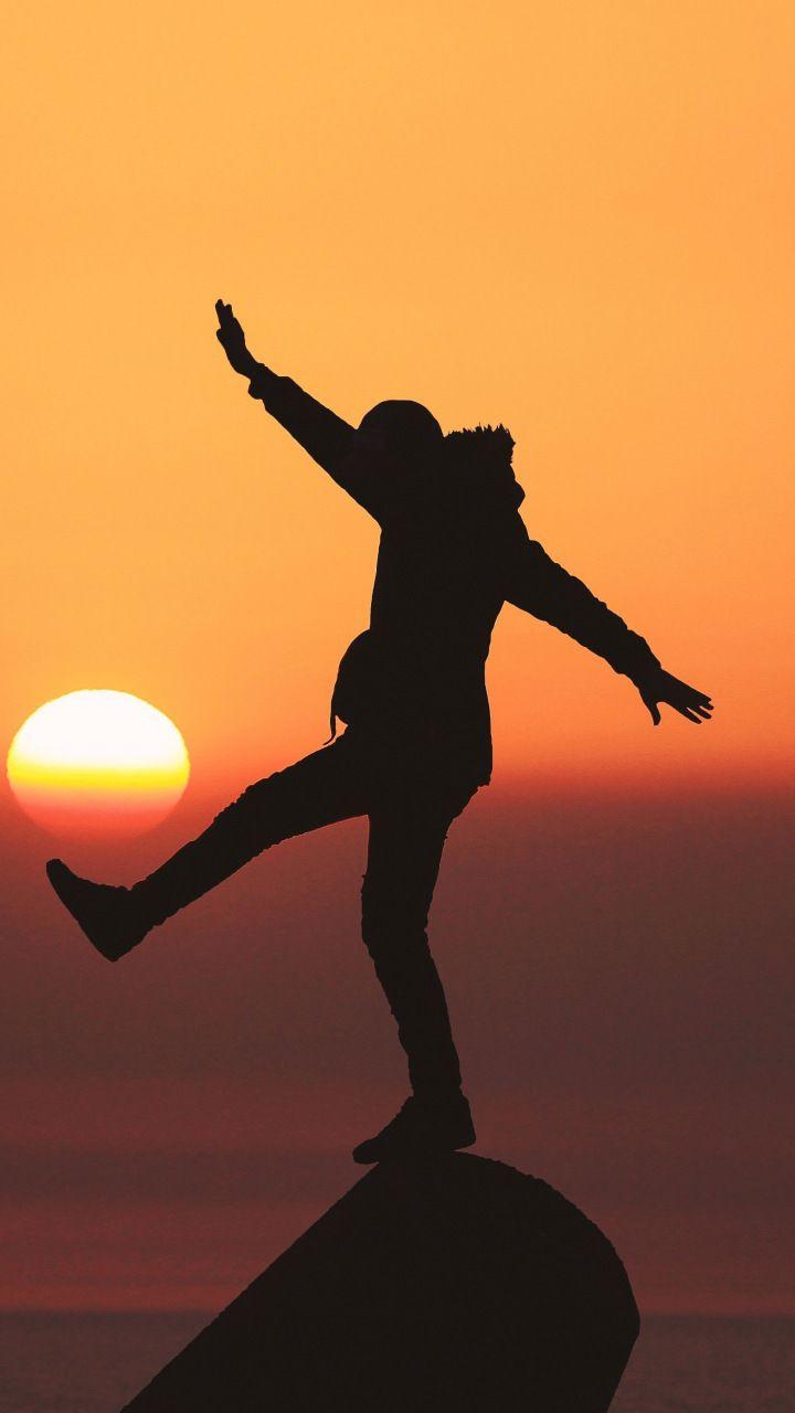 Silhouette, man, mood, sunset, 720x1280 wallpaper Sunset