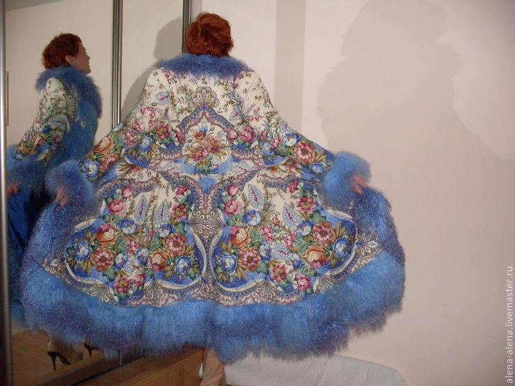 """Купить Пальто """"Зимняя сказка"""". - павловопосадский платок, мех, зимнее пальто, пальто из платка"""