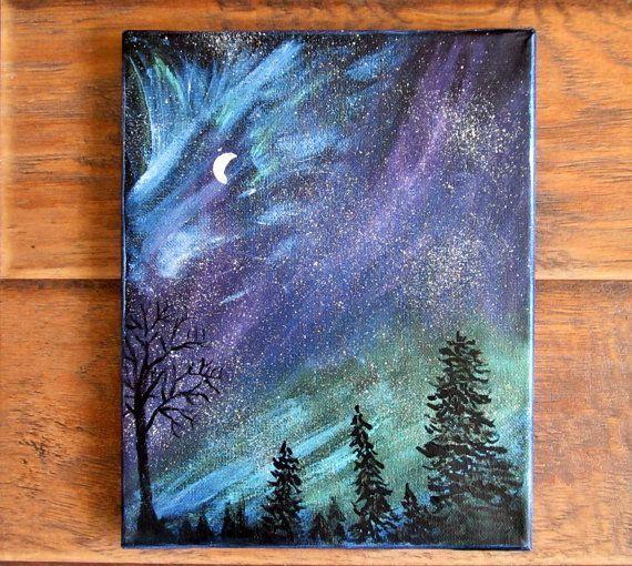 Magical Night Sky Painting Ii Northern Lights Aurora