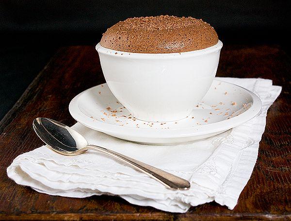 photo of a Soufflè di Nutella - Nutella Soufflé served in a white ...