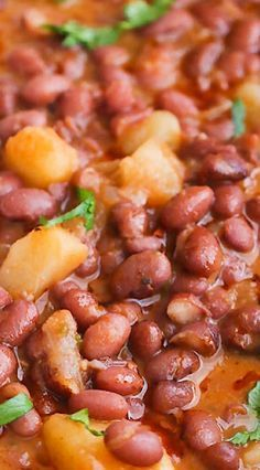 Puerto Rican Style Beans ~ An Easy, Yet Tasty, Meat Free Beans, is The Most Delicious Beans to Cook up. It's a Hearty Stew of Red Beans, Simmered in Tomatoes, Onions, Garlic, Bell Pepper Spices and Chunks of Potatoes until all The Flavors Fuse Together Beautifully.