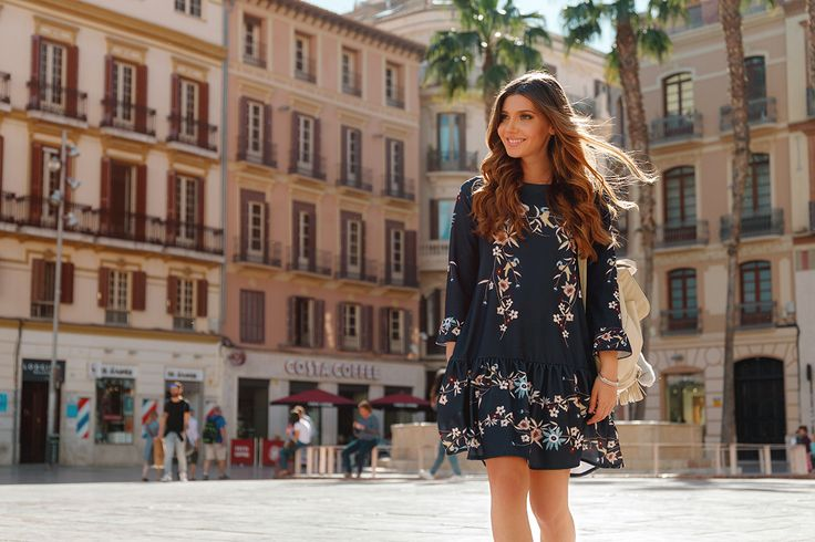 Wearing a boho chic festival look with a floral navy dress and beige fringed booties, here on my blog: http://larisacostea.com/2017/04/coachella-ready/