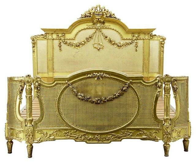 French louis style barbola cane bed