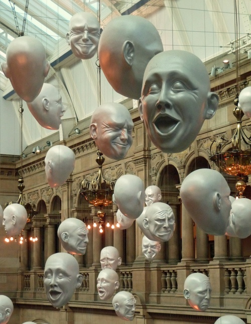 """Hanging Heads"" display in Glasgow's Art Gallery and Museum, Kelvingrove, Glasgow, Scotland. (Photo: David May)."