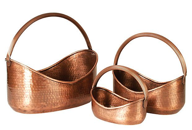 S/3 Copper Handled Planters    Wald Imports