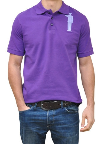 Purple Polo. 100% Organic Cotton. 3 button placket. Bold Embroidery Front & Back.  Model 6' ft, waist 31 wearing Small Bold Polo. Order online: http://www.el-capitano.com/collections/polos/products/purple