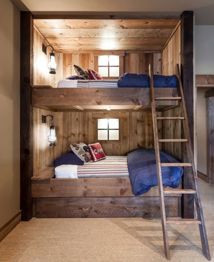Simple Blue Duvet and Fluffy Cushions in Unique Oak Full Over Full Bunk Beds with Teak Ladder