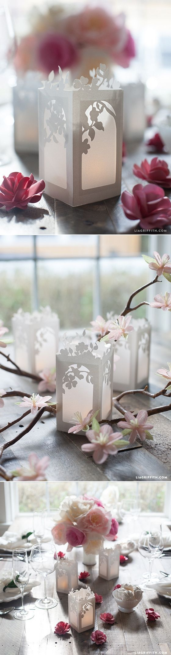 Spring in Bloom Paper Lanterns - Tutorial and template at www.LiaGriffith.com #wedding #diywedding #paperlanterns