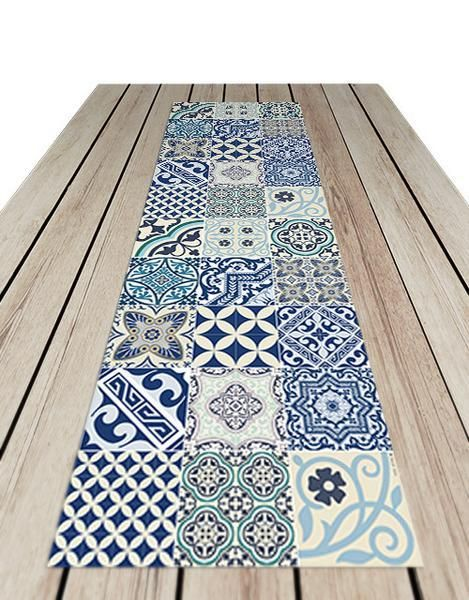 Beija Flor Blue Eclectic Table Runner by Kiss That Frog