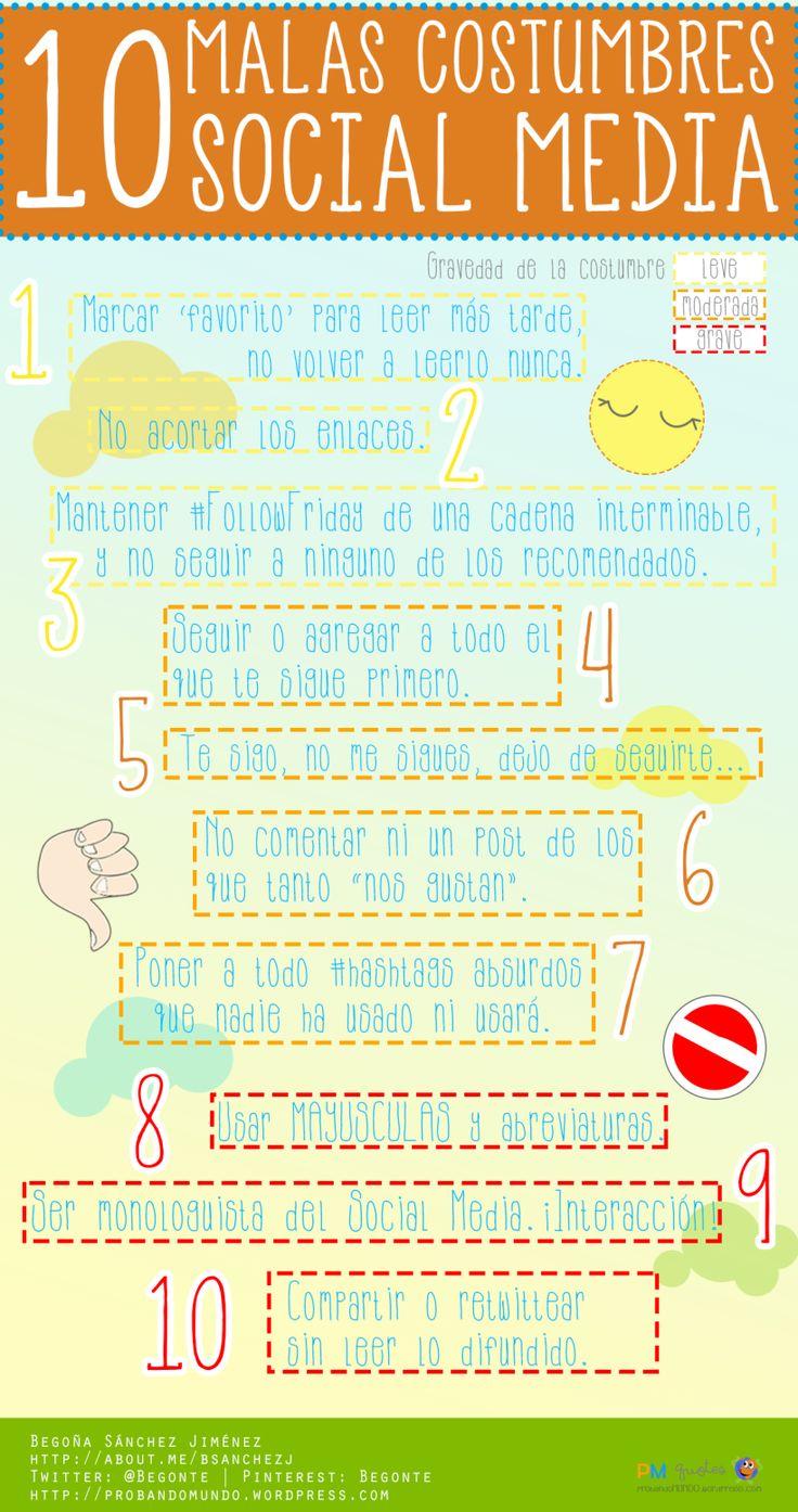 10 malas costumbres en Social Media #infografia