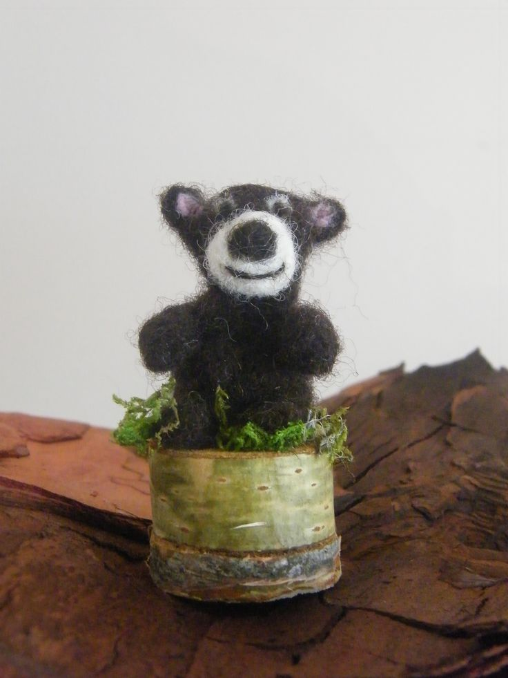 Choco Ted Pebbler, needle felted by Patricia at All Things Handcraft, Pebblewood Ireland. Mounted on wood.