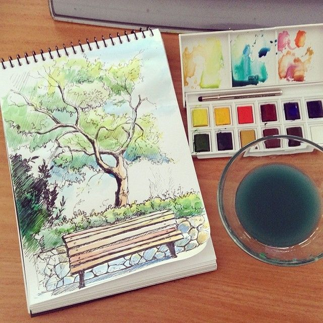 Watercolor Sketchbook tree by AlexGreenArt