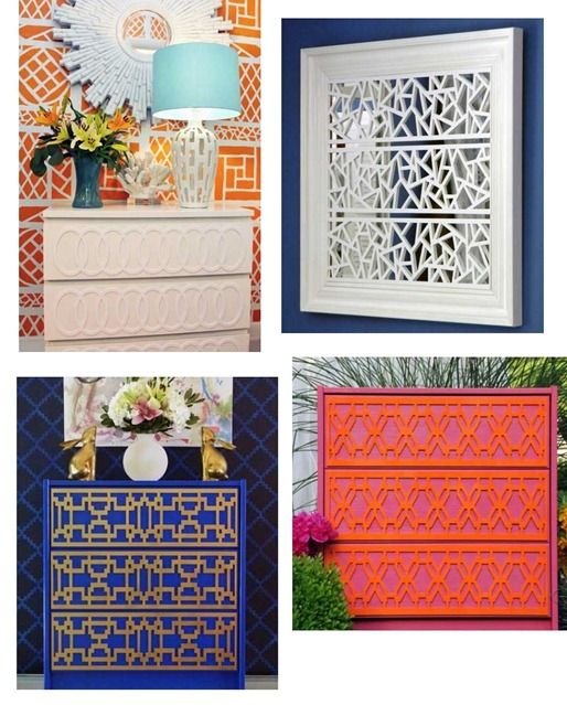 Overlays to jazz up furniture: Fretwork Overlays, Idea, Painted Furniture, Furniture Makeover, Furniture Overlay, Ikea Overlay, Ikea Furniture