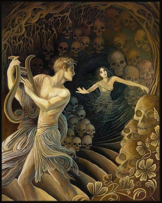This painting is of Orpheus turning back to ensure his wife is following along behind him. In this moment, he loses her as he was not supposed to look back. She is then swallowed back into the underworld. This painting was accessed from scontent-mxp1-1.xx.fbcdn.net from 2014.