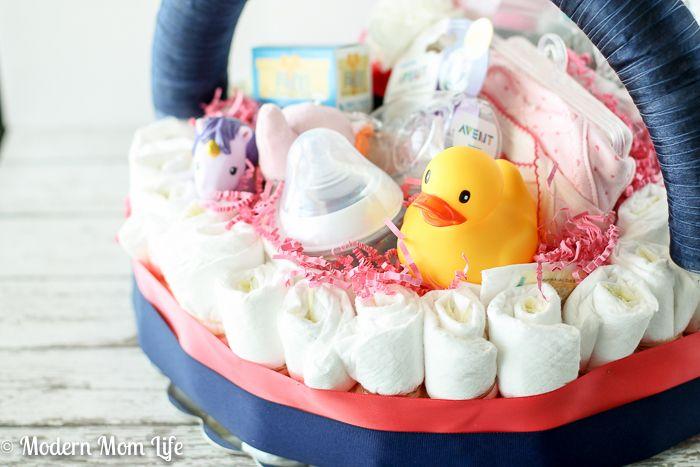 A step-by-step tutorial to make a diaper cake basket.