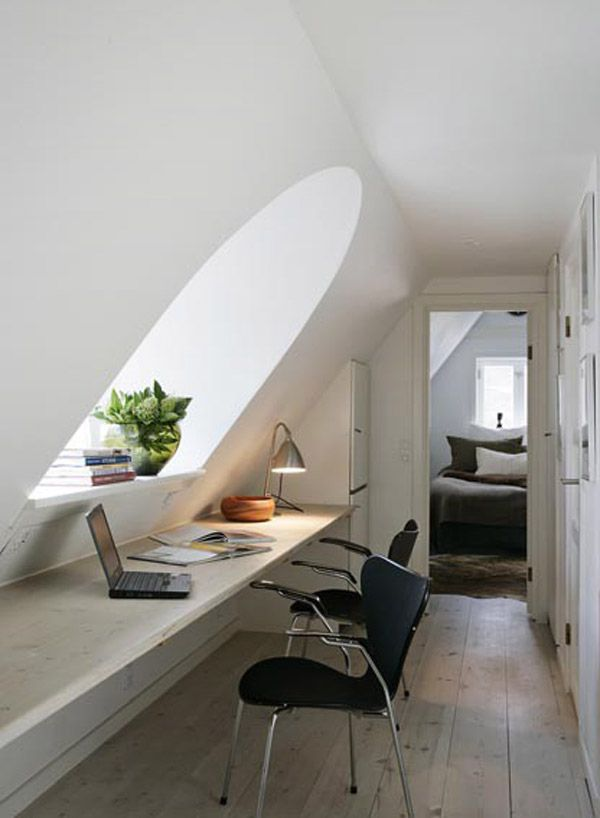 Awesome 37 Stylish Attic Home Office Design Ideas : Minimalist Attic Home Office Design With Long Table And Black Chairs