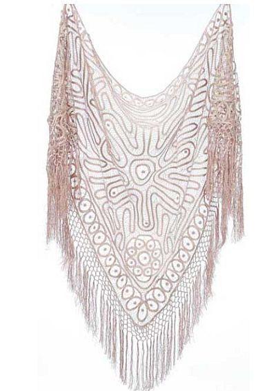 silky shawl   Soulmates Silk Crochet Shawl with Fringes C300 image
