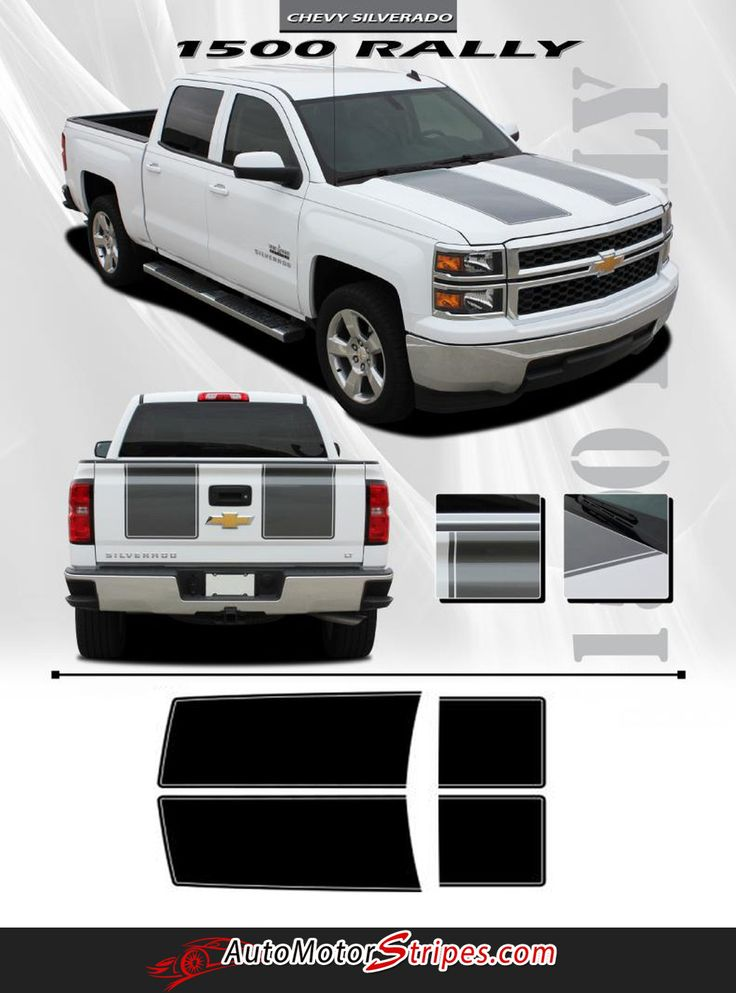 Vehicle Specific Style Chevy Silverado Truck RALLY Hood Racing and Tailgate Striping Vinyl Graphic Stripe Decals Year Fitment 2014 2015 Contents Hood and Tailga
