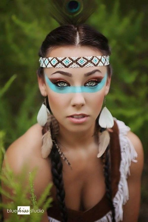 Wow klasse Make-up zum Karneval als Indianerin