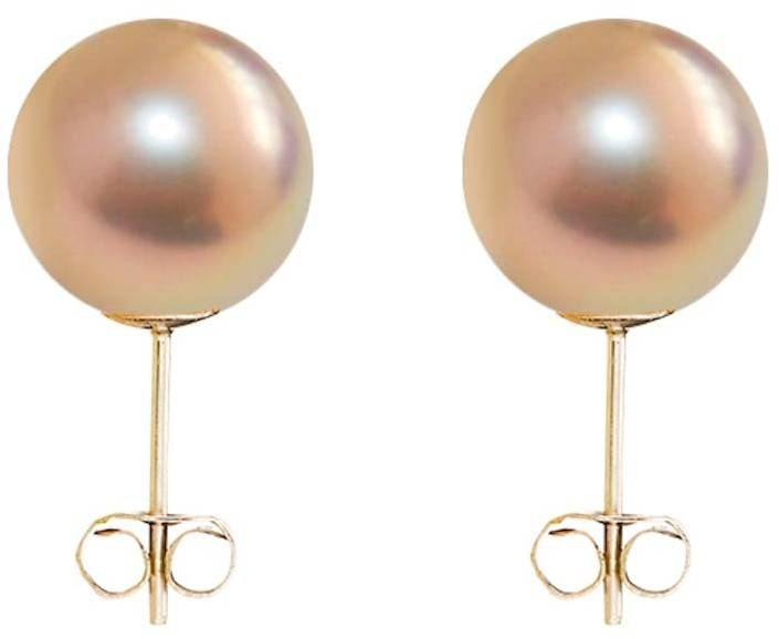 ORA Pearls Sterling Silver Classic Pink & Gold Pearl Stud Earrings 97UvMN6u