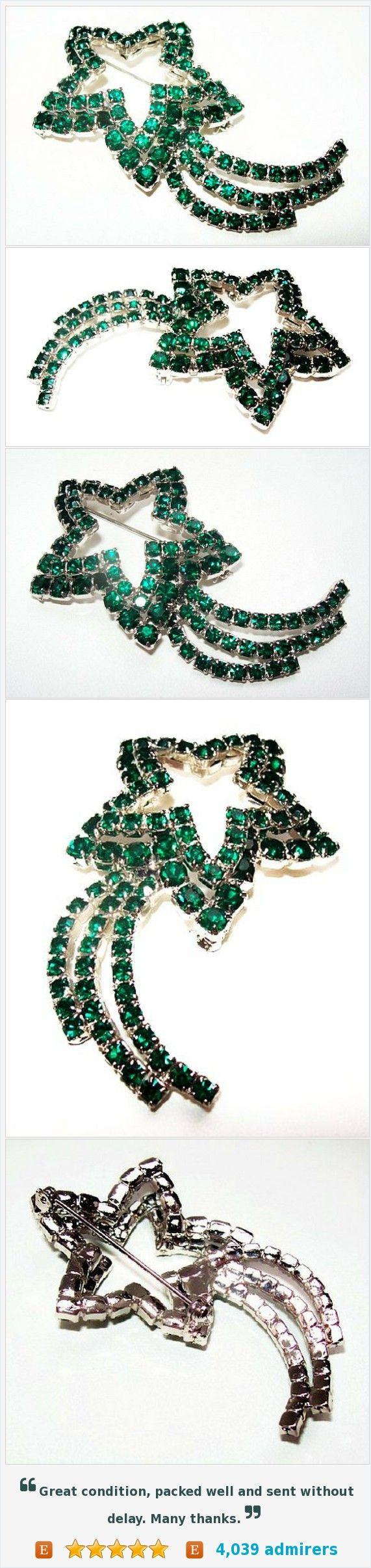 "Green Shooting Star Brooch Layered Round Rhinestones Silver Metal May BS Granny Chic BIG 2 3/4"" Vintage https://www.etsy.com/listing/462427594/"