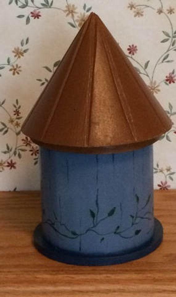 Legend Indoor Birdhouse, Blue Birdhouse, handbemalte Geschenk, Fensterbank Dekoration, hölzerne Runde Birdhouse, Küchendekoration, Regal Sitter