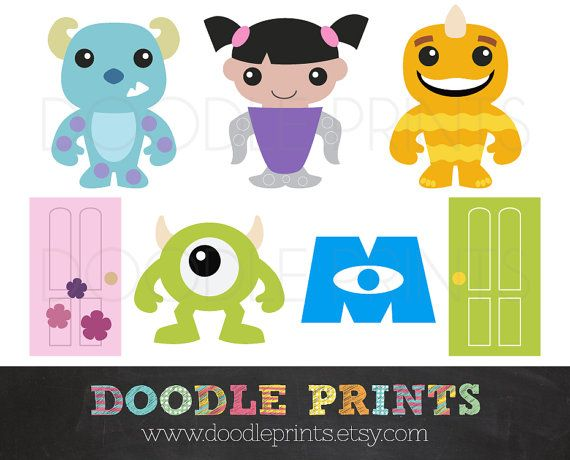 Digital Clip Art Printable Monsters INC Design by doodleprints