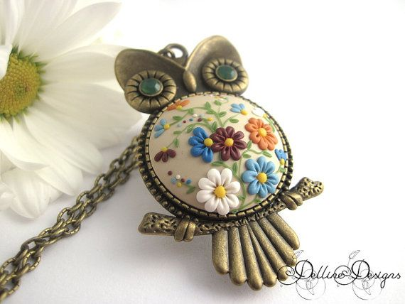 Bloom  Handmade Polymer Clay Owl Pendant  Unique by DellineDesigns